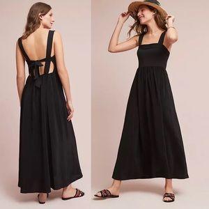 Anthropologie Audre Tie Back Blk Maxi Dress Sz S